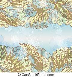 invitation, main, beige, carte, tourbillons, dessiné, bleu, seamless, conception