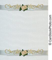 invitation mariage, blanc, roses