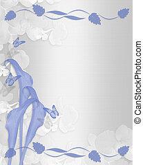invitation mariage, bleu, lis calla, frontière florale