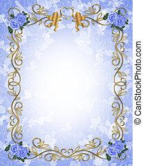 invitation mariage, bleu, roses