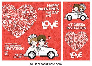 invitation mariage, card., carte, valentin