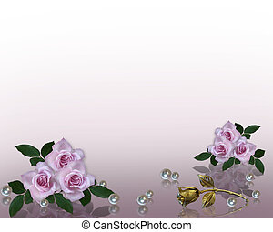 invitation mariage, frontière, lavande, roses