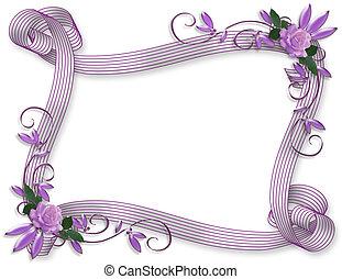 invitation, mariage, frontière, lavande, roses