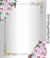 invitation mariage, frontière, lierre, orchidées