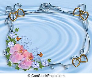 invitation mariage, frontière, orchidées