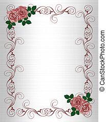 invitation mariage, gabarit, roses