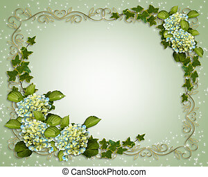 invitation, mariage, lierre, hortensia