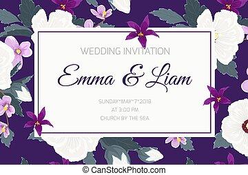 invitation mariage, ropical, violette pourpre, fleurs