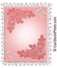 invitation, mariage, roses roses