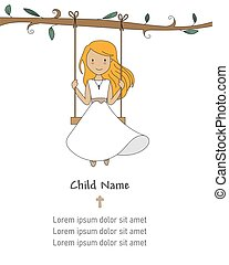 Invitation my first communion. Girl on a swing.