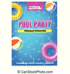 Invitation on summer party in swimming pool. Poster with design of text. Top view on pool with blue water inflatable balls and circles. Vector template for leaflets. Template for leaflets, banners