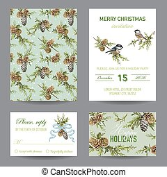Invitation or Greeting Christmas Card Set - in vector