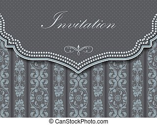 Invitation or wedding card with damask background and ...