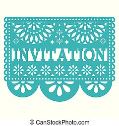 Invitation Papel Picado vector design - party greeting card, Mexican pattern