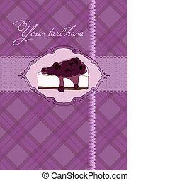 Invitation postcard with cheesecake