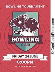 Invitation poster with bowling club logo emblem isolated -...