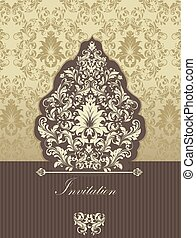 invitation, résumé, retro, carte, floral, orné, conception, vendange, élégant