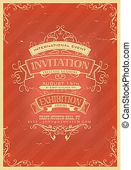invitation, retro, fond, rouges