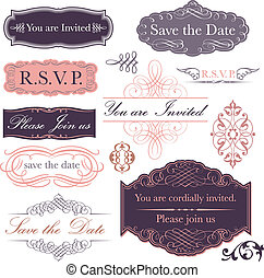 Invitation Set - Collection of invitation designs done in a...