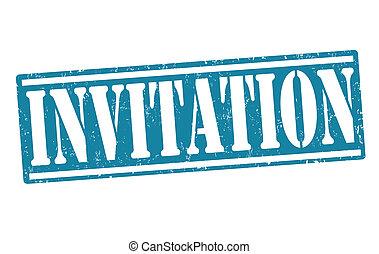 Invitation stamp - Invitation rubber stamp on white, vector...