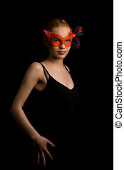 invitation - lady in red carnival mask inviting to dance