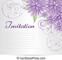 Invitation template blank with purple abstract flowers