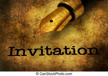 Invitation text and fountain pen