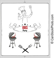 invitation to a bbq party, doodle illustration