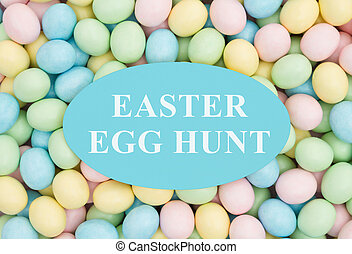 Invitation to an Easter Egg Hunt, Retro Easter eggs candy...