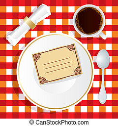 Vector image of lunch appliance with an invitation