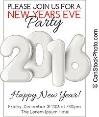 Invitation to New Year party with white numbers