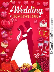 Invitation to wedding party, bride and groom, love
