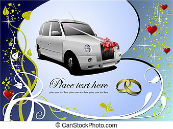 invitation, vecteur, mariage, carte, salutation, card., illustration.
