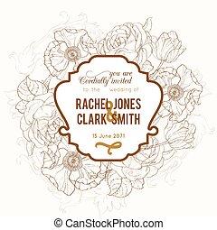 invitation, vecteur, mariage, floral, brun, dessin, cadre, vendange