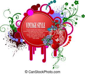 invitation, vecteur, petite amie, salutation, jour, card., illustration.