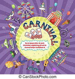 invitation, vektor, konstruktion, karneval