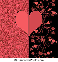 Invitation vintage card heart letter on roses background