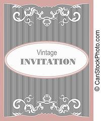 Invitation vintage card. Wedding or