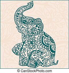 Invitation vintage card with elephant