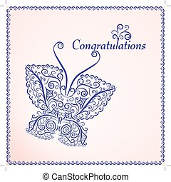 Invitation vintage card with floral elements.