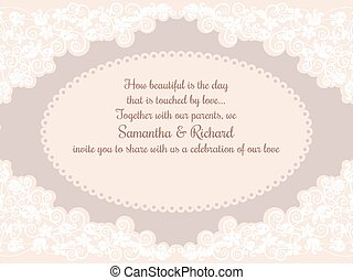 Invitation wedding card with beautiful lace decorations