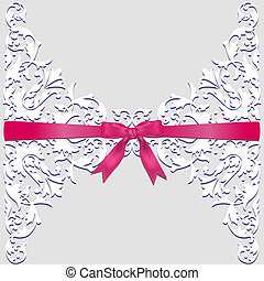 lace border and red ribbon - Invitation, wedding or greeting...