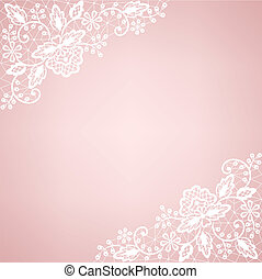 Invitation, wedding or greeting card with lace border