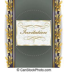 invitation with golden ornament