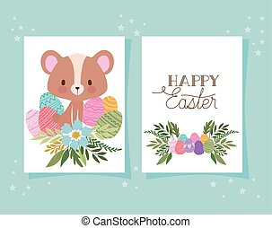 invitation with happy easter lettering,one cute bear and one basket full of easter eggs