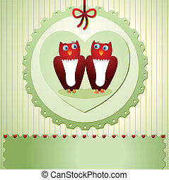 invitation with owls