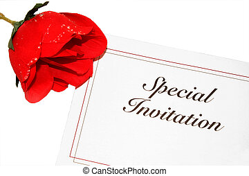 Invitation With Rose - Special invitation on white with red...
