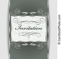 invitation with silver ornament - Beautiful vintage...
