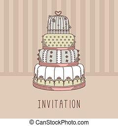Invitation with wedding cake.