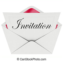 The word Invitation on a card in an envelope formally inviting you to a party or other special event